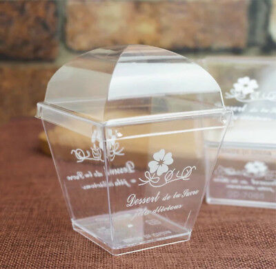 Clear Bakery Boxes w/ Lids & Spoons | for Pudding/Fruits/Cake/Parfait | 20cts
