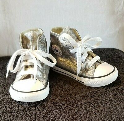 Converse All Star Toddler Girl's Size 6 Metalic Look Silver High Top Shoes