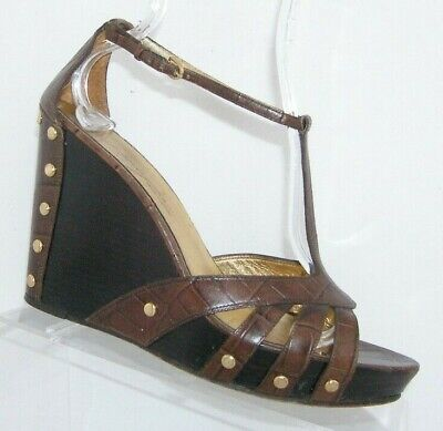 Imagine Vince Camuto brown leather croc print t-strap studded wedges 8.5M