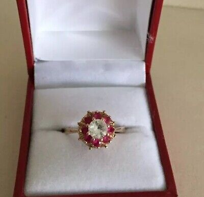 Ladies Vintage 9ct 375 Gold White Sapphire & Ruby Cluster Ring ~ Lovely ~ Size N