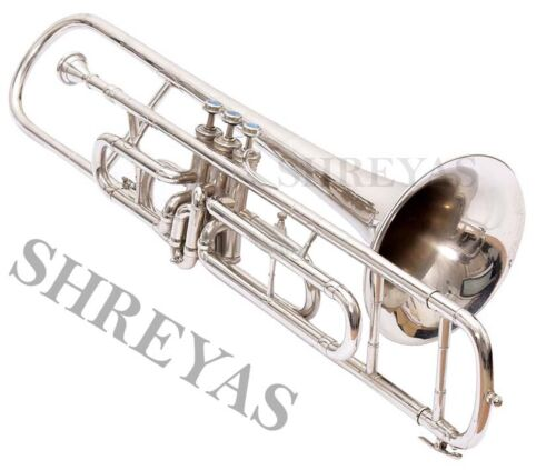 Trombone Excellent Nickel Finish Bb Pitch With Hard Case and MP SCD29958