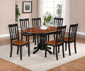 7-PC-OVAL-DINETTE-KITCHEN-DINING-SET-TABLE-w-6-WOOD-SEAT-CHAIRS-IN-BLACK-BROWN
