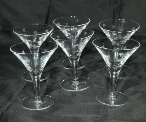SET OF ( 7 ) FOSTORIA  TIFFIN ETCHED CRYSTAL STAR CHAMPAGNE GLASSES 1930