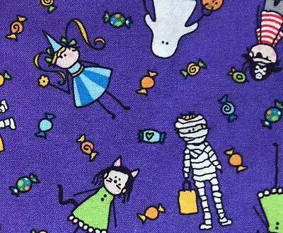 0.9 Yard Cotton Quilting Fabric Halloween Costumes & Candy on Brilliant Purple