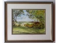 "Watercolour ""Castlehill Top"", Burley, New Forest, by local artist H.M..Norman 8/92"