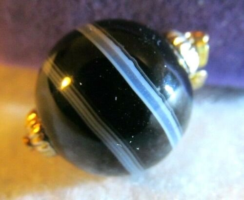 Antique Victorian Vintage Banded Agate Ball Gold  Charm Fob