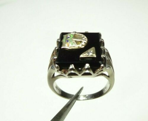 14k SOLID WHITE GOLD DIAMOND DAUGHTERS OF REBEKAH ODD FELLOWS RING SIZE 7