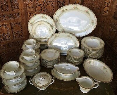 Floral Occupied Japan Rose China Set With Blue & Gold Accents -86 Pieces