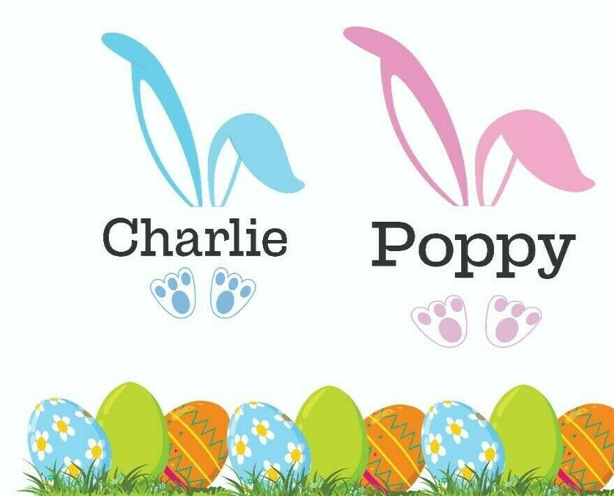 Personalised Easter Bunny Vinyl Decal Sticker Easter gift idea