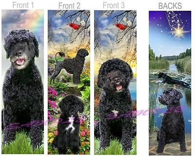 3 Lot-Black PORTUGUESE WATER DOG BOOKMARK Book Mark Art CARD Labradoodle Poodle