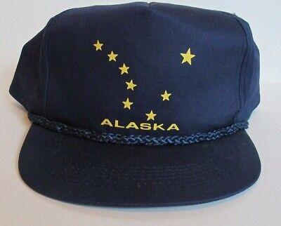 fcc045aaeca26 Vtg Alaska Navy Blue Stars Flag Rope Adjustable Snapback Hat Baseball Cap  Cotton
