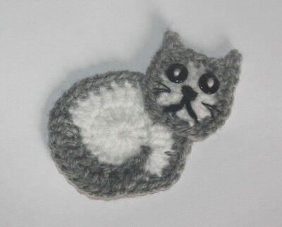 Handmade Crochet cat applique /motif / embellishment / scrapbooking