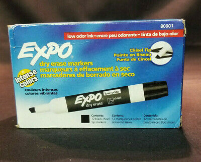 Expo Dry Erase Markers  12 Ct Chisel Tip Black