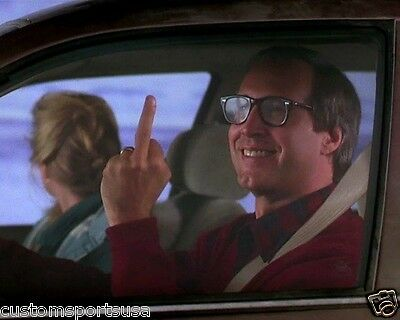 CHRISTMAS VACATION Chevy Chase Middle Finger Clark Griswold Movie 8 x 10 Photo