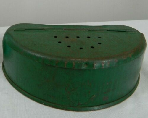 Vintage Green Metal Old Pal Fishing Bait Container Box Belt Loops Vented USA Tin