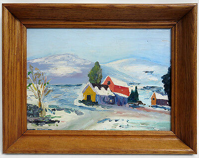 1957 SIGNED MID-CENTURY MODERN WINTER COUNTRY LANDSCAPE OIL PAINTING EAMES ERA