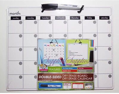 Dry Erase Calendar White Board Double Sided 11x14 Eraseable Write On Wipe Off