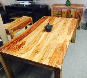 Table de cuisine en bois de rose (sheesham) massif 63 x 36