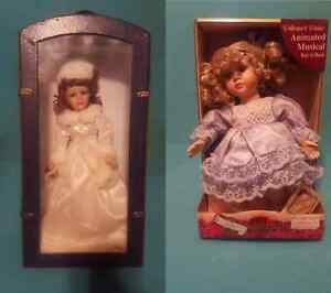 Porcelain Dolls, 1 in travel case, 1 wind up key music player