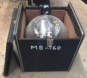 """16 """"Mirror Ball, motor & road case - used good condition"""