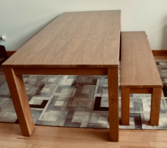 wood dining room table and bench  dining tables  sets