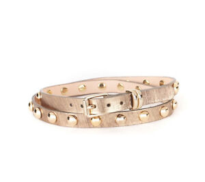 "BRAVE Leather ""Becca"" Metallic gold studded belt Size 30"" NEW"