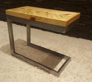 modern steel and herringbone end tables