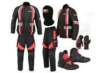 (Red) Racing Pocket Design Suit - Jacket + Trouser + Gloves + Boots (Short)