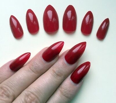 Hand Painted False Nails STILETTO (or ANY SHAPE) Gloss Red HALLOWEEN Witch UK - Halloween Stiletto Nails