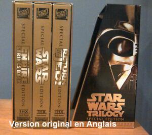 SÉRIE DE FILMS TRILOGIE STAR WARS EN ANGLAIS, SUR VHS, ÉTAT NEUF