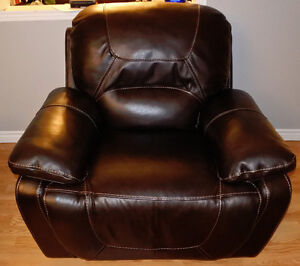 Bliss Mahogany Genuine Leather Glider Recliner