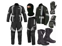 (Grey) Racing Pocket Suit- Jacket + Trouser + Gloves + Boots (Long)