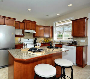 Laminate Countertops with Wood Trim