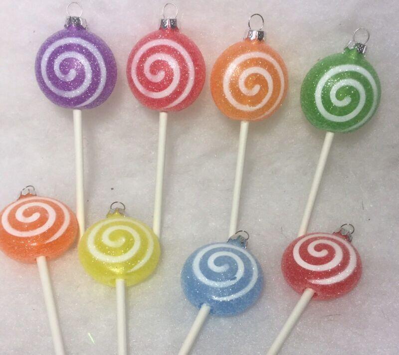 Swirl Lollipop Christmas Tree Ornaments, Sugar Coated Puffed, Candyland