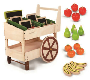 (NEW) Everearth Wood Wooden Fruit Veggie Market Cart Play Toy