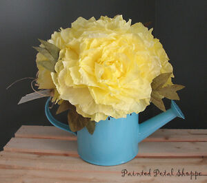 Yellow Coffee Filter Peony in Teal Tin Watering Can/Spring Decor Belleville Belleville Area image 4