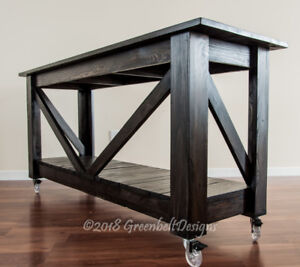 SALE RECLAIMED WOOD INDUSTRIAL CONSOLE ISLAND/KITCHEN TABLE