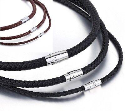 Echt Leder Kette geflochten Edelstahl Magnet Halskette Braun Schwarz 4 - 8 mm Halsketten