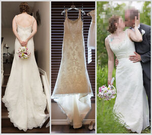 Beautiful Ivory Lace Wedding Gown with Crystal Bead Details