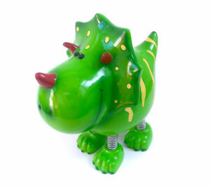 Triceratops Dinosaur Coin Bank Green Piggy Penny Storage Bouncy