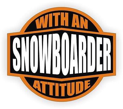 Snowboarder With An Attitude Vinyl Decal / Helmet Sticker Label Snow -