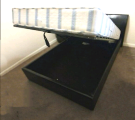 Black Leatherette Gas Lift Under Storage Double Bed