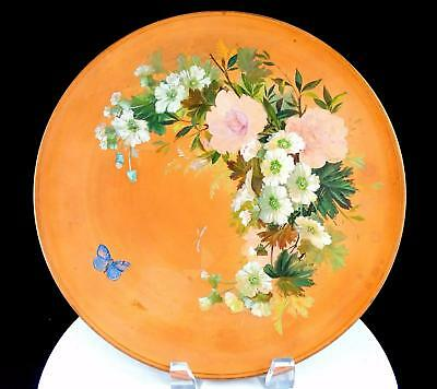 "P. IPSEN ANTIQUE DANISH ART POTTERY ROUND FLORAL 11 1/2""  WALL PLATE 1871-1917"