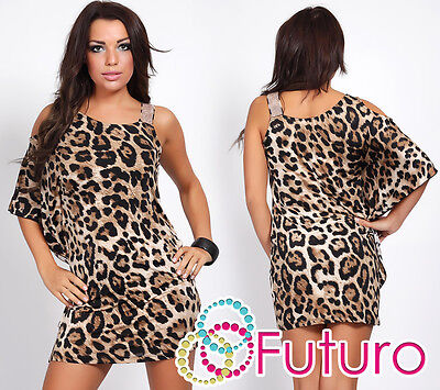 Womens One Shoulder NEW Mini Dress Panther Print Batwing Tunic Sizes 8 -12 FC89