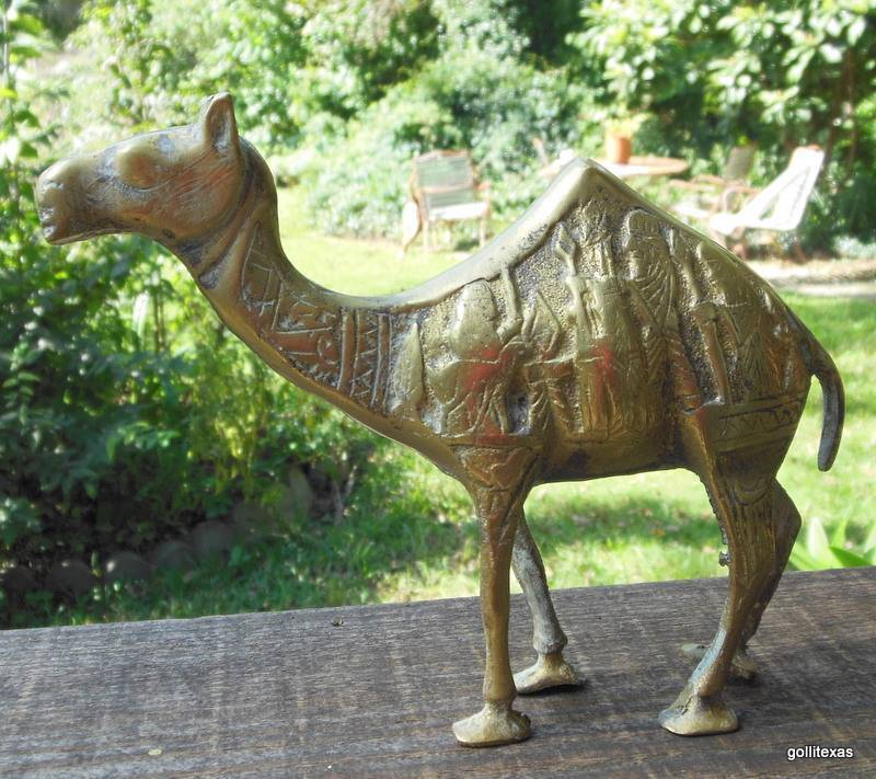 "Vintage Brass Camel Egypt 7"" Tall Inscribed with Men"