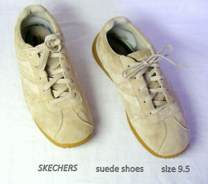 Skechers, Tan-Beige Retro Casual Suede Leather Lace-Up Shoes 9.5