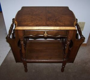 ANTIQUE COMPACT TABLE WITH SIDE POCKETS,1930's-1940's ERA.