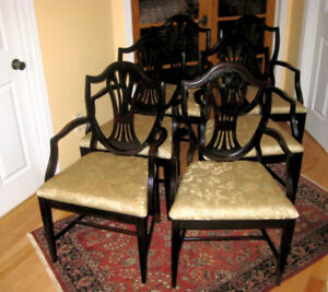 6 Refinished Solid Mahogany Shield Back Dining Chairs, Table