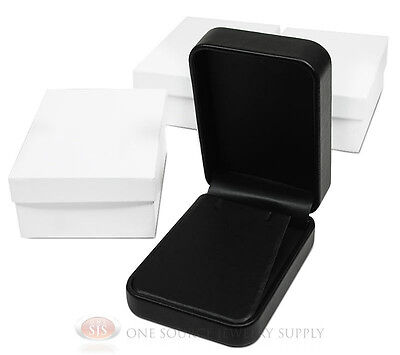 3 Piece Pendant Earring Black Leather Jewelry Gift Box 2 34w X 4d X 1 38h
