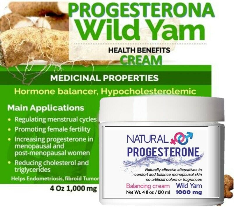 Natural Progesterone Skin Cream - 4 oz UNSCENTED with 1000 MG OF WILD YAM USP 7
